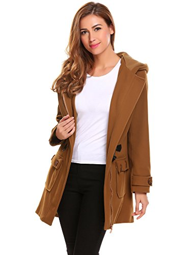 ELESOL Women's Hoodie Plus Size Jacket Wool Blend Duffle Toggle Pea Coat Brown XL Womens Toggle Coat