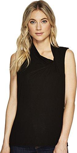 Michael Stars Women's Jersey Lycra Sleeveless Asymmetrical Drape Top Black One ()