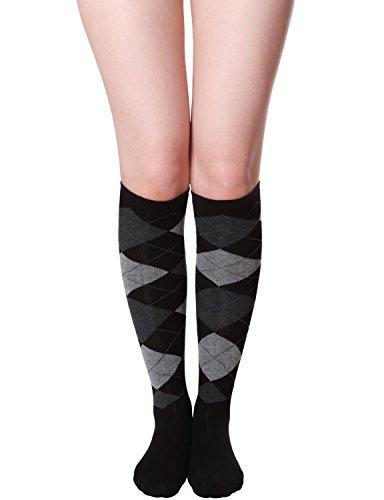 (HASLRA Women's Argyle-Check Knee High Socks 1 Pairs (BLACK) )