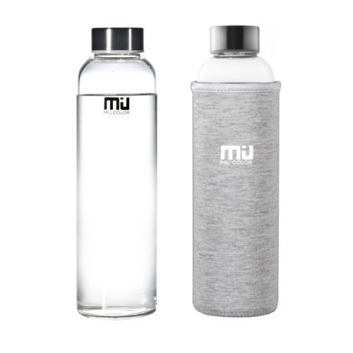 MIU COLOR 18.5 oz Glass Water Bottle - Eco-friendly Shatter Resistant Borosilicate Glass Bottle, BPA, PVC and Lead Free, Portable with Nylon Sleeve, Grey