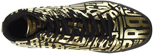 Bikkembergs Campus 91 M.Shoe W Canvas, Zapatillas Altas para Mujer Dorado (Black/Gold/Allover Logo)