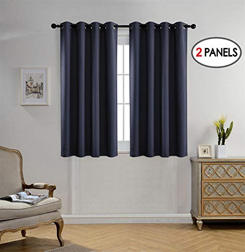 Miuco Blackout Curtains Room Darkening Textured Grommet Window Curtains 2 Panels for Bedroom 52x63 Inch Navy Blue