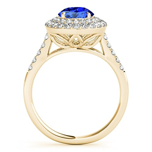 1.25 Ct. Ttw Halo Antique Design Tanzanite And Diamond Engagement Ring In 14K Yellow Gold