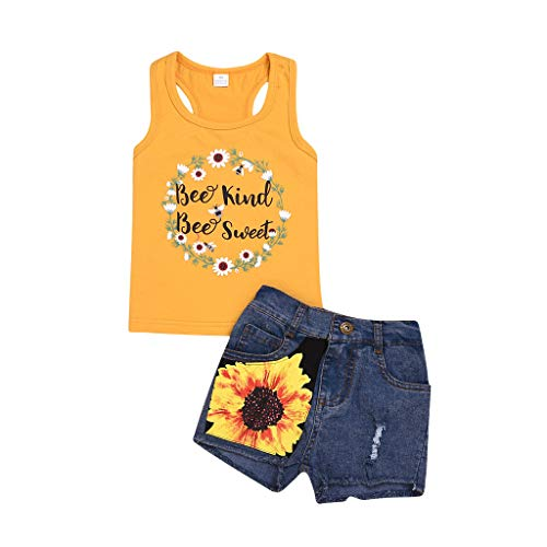 WOCACHI Toddler Baby Girls Clothes, Kids Baby Girl Sleeveless T-Shirt Top+Floral Denim Shorts Outfits Sets Infant Bodysuits Rompers Clothing Sets Christening Short Sleeve Organic Cotton -