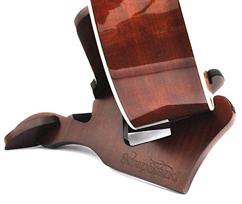 StrapStand Premium Wooden Folding Guitar Stand For Acoustic, Electric, And Bass Guitars. High-End Model Portable Wooden Foldable Guitar Display Stand