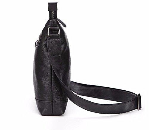 negro Men genuino Color Surnoy pulgadas 's Shoulder cremallera 13 Bag Satchel Pure cuero horizontal business bolso casual de THHdtxZ