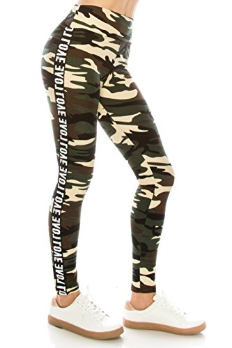 ALWAYS Legging Women Track Pants - Premium Soft Stretch Buttery Camo Print Love Elastic Band 57 One Size by ALWAYS (Image #1)