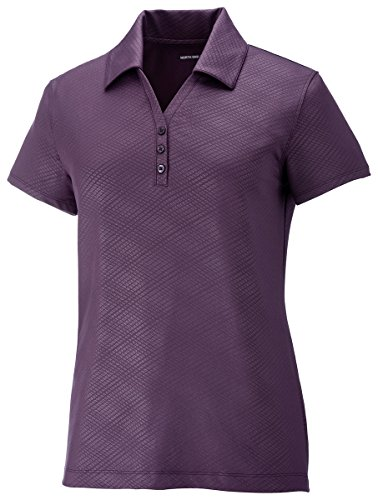 North End Womens Maze Perf Stretch Embossed Print Polo (78659) -MULBRY PURPL -M ()