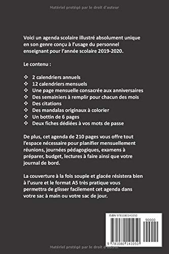 Amazon.com: AGENDA SCOLAIRE 2019-2020: PERSONNEL ENSEIGNANT ...