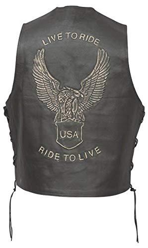 Bikers Leather - Men's Leather Motorcycle Vest Biker Vest Eagle Embossed (108LTR) - X-Large