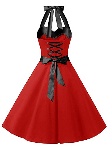 pin Audrey Style Hepburn 50 Halter Pois 1950's Noire soire avec annes Version3 Vintage Rouge Cocktail Dresstells de Ceinture Robe 0 up xqwIY7IX1