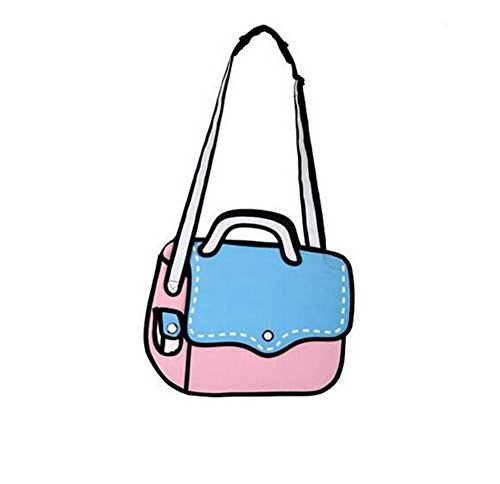 Nuobo 3D Jump Style 2D Drawing From Cartoon Paper Bag Messenger Bag Comic Women Shoulder Bag (blue pink)