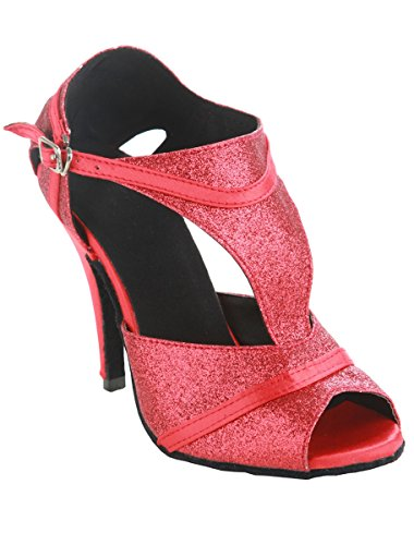 QJ8056 Dance Sparkle Satin Ballroom Womens Party Tango Red Minishion T Strap Salsa Latin Shoes 4qpdP