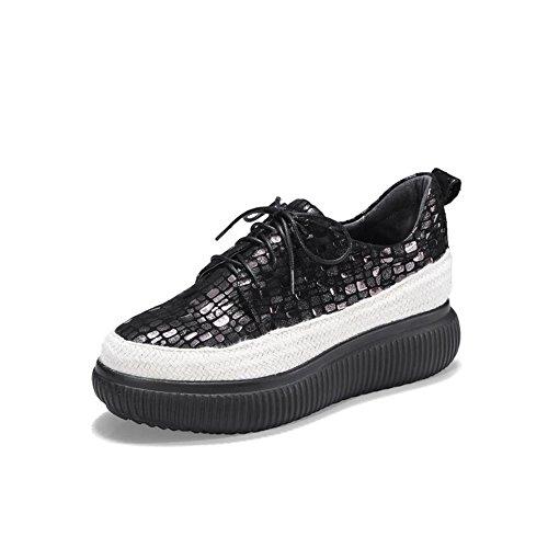 Zapatos de Plataforma Ocasionales de la Primavera, del Verano y de la caída de Cuero de Las Mujeres, tortas Inferiores Gruesas y Zapatos Casuales Zapatos (Color : Negro, tamaño : 39)