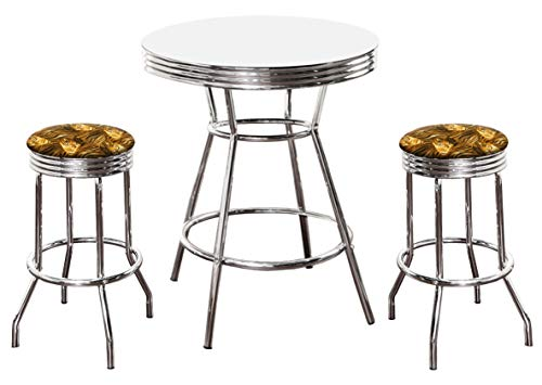 The Furniture Cove Chrome Bar Table & 2 Chrome Tiger Face Animal Print Fabric Seat Barstools ()
