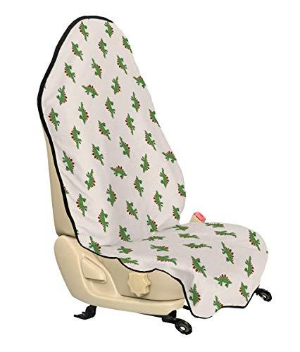 Lunarable Jurassic Car Seat Cover, Stegosaurus Dinosaur Prehistoric Herbivorous Reptiles Extinct Animals, Car Truck Seat Cover Protector Nonslip Backing Universal Fit, Fern Green Ruby Beige