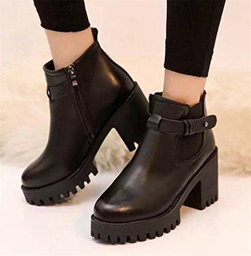 Satuki Womens Teen Gilrs High Heel High Top Pull On Boots Scarpe Casual Nere