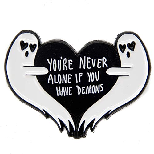Ectogasm Halloween Ghost Enamel Pin with Quote,