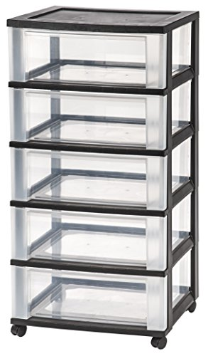 IRIS Wide 5-Drawer Cart, Black
