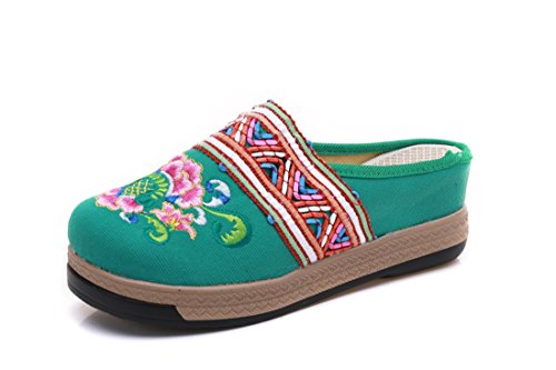 Nacional Viento and Green Zapatos de Bordados Lona Slippers Lona de de de Slope xYvvqSw0A