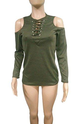 V Printemps Arme Longues Casual T Manches et Col Tunique Chemisiers Bandage Slim Fashion Automne Tops Blouses Femmes Sexy Verte Shirts Haut HYAxwYZqFr