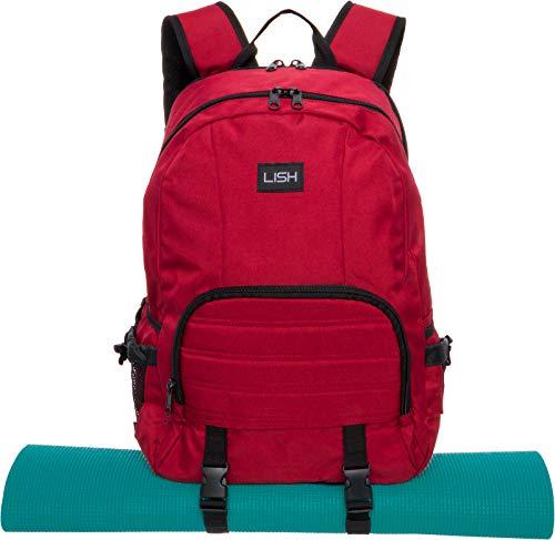 LISH Vinyasa Yoga Mat Backpack - Multipurpose Lightweight Gym Tote Bag (Maroon) ()