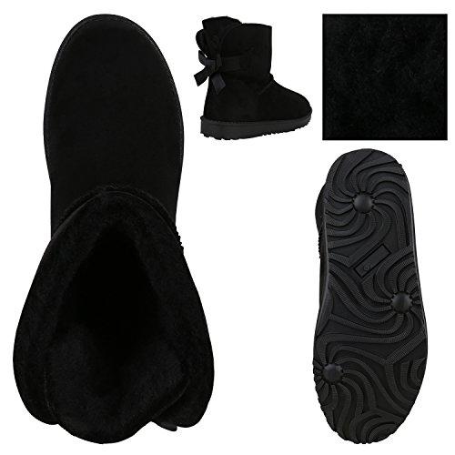 Stiefelparadies Bottes à Enfiler Femme - Noir - Schwarz Schleife, 36 EU