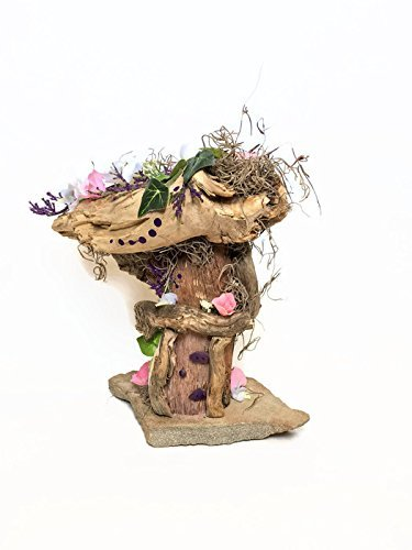 Floral Fairy House for miniature or Fairy Gardening, with pink, purple and white flowers