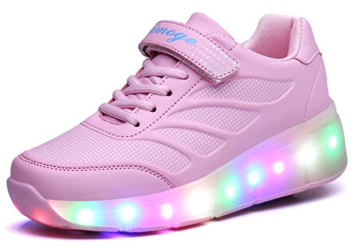 Price comparison product image Ausom Girls Boys Glint Light Up Wheels Kids LED Roller Shoes Skates Sneakers