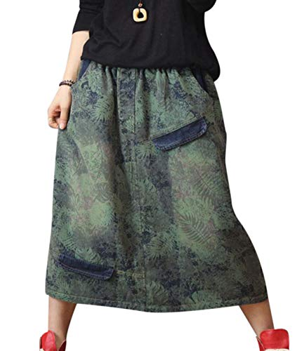 YESNO YH7 Women Casual Loose Denim Skirts Floral Printed 'A' Skirt Pocket Stitched - Floral Embroidery Denim Skirt