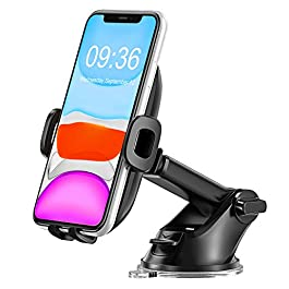 Babacom Car Phone Mount, 360° Rotation Extendable Dashboard Phone Holder With Adjustable Arm, Universal Windshield Cars Cradle with One Button Release for iPhone 11 Pro Max/XS Max/XR, Samsung LG, etc.