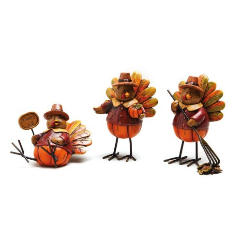 Autumn Inspirations Turkey Polystone Table Decor (Set of 3) (Table Polystone)