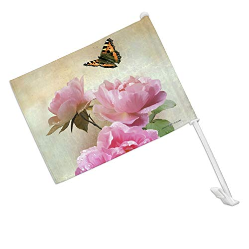 GRAPHICS & MORE Pink Roses and Butterly Car Truck Flag with Window Clip On Pole Holder - Right Passenger Side