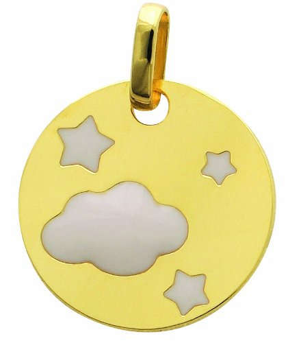 Pendentif or 750 plaque nuage etoiles