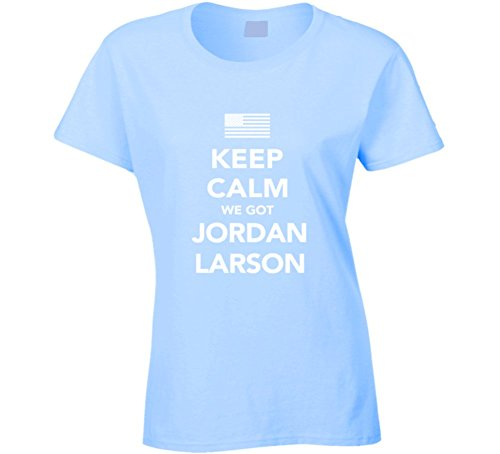Jordan Larson Keep Calm USa 2016 Olympics Volleyball Ladies T Shirt 2XL Light Blue by Mad Bro Tees
