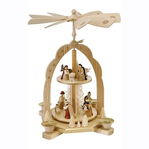 Alexander Taron Importer Richard Glaesser Natural Wood Color 2 Level Cathedral Design Pyramid with Nativity Scene And 3 Wise Men by Alexander Taron - Glaesser Wood Richard Natural