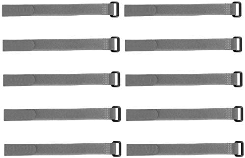 uxcell 10pcs Hook and Loop Straps 3/4-inch x 18-inch Securing Straps Reusable Fastening Cable Tie (Gray)