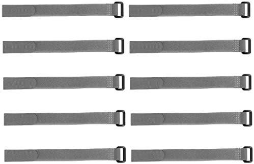 uxcell フックとループのストラップ20mm x 450mmストラップ固定 再利用可能な固定ケーブルタイ(グレー)10個