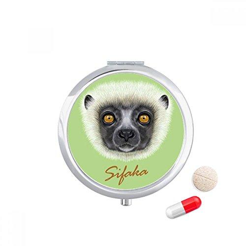 White Fluffy Sifaka Monkey Animal Travel Pocket Pill case Medicine Drug Storage Box Dispenser Mirror Gift