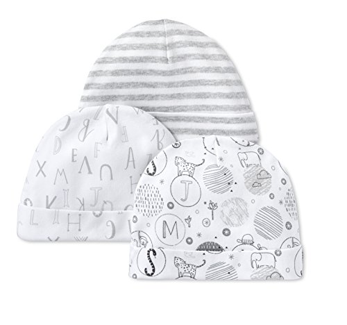 Lamaze Baby Organic Essentials 3 Piece Hat Set, Grey, 0/3M
