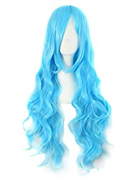"MapofBeauty 32"" 80cm Long Hair Spiral Curly Cosplay Costume Wig (Azure Blue)"