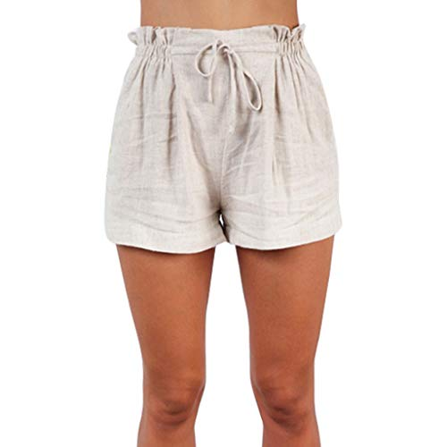 FarJing Women Fashion Casual Shorts Sloid Color Pants With Pocket(L,Beige) ()