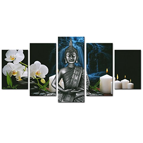 AMCART Buddha Canvas Wall Art Orchid Flower