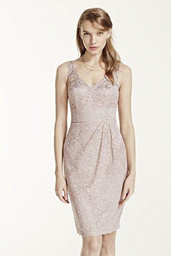Short Tank Metallic Lace Bridesmaid Dress