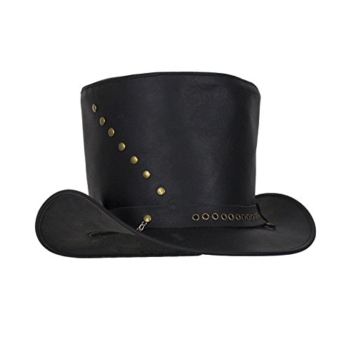 Genuine Black Leather Top Hat with Brass (Genuine Leather Cowboy Hat)