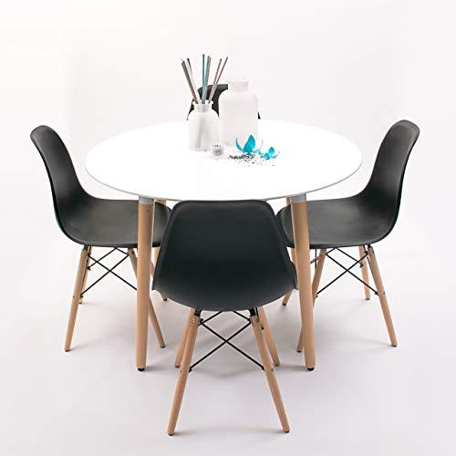 Homely - Conjunto de Comedor NORDIK-MAX Mesa Redonda de 100 cm lacada Blanca y 4 sillas - Negro
