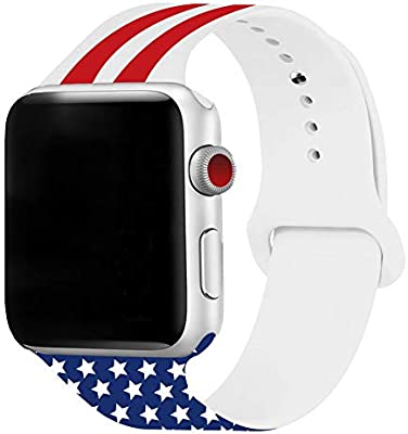 3H-SENDER US Flag Smartwatch Bands Soft Silicone Replacement Straps for Apple Watch Series 4 3 2 1 for iWatch 42mm/44mm
