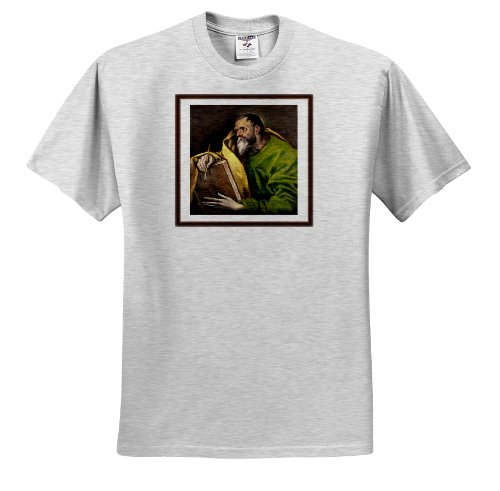 Florene Famous Art - Photo Of Painting By El Greco St Luke - T-Shirts - Adult Birch-Gray-T-Shirt 2XL (ts_100382_22)