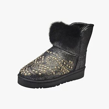 Round Boots 5 Fluff Heel Booties 5 Lining 7 Pu Boots Toe EU37 Bootie 5 Fashion CN37 Snow Boots Women'S US6 Winter Flat Shoes Ankle Boots Comfort Fall Novelty UK4 RTRY nXHT7ap