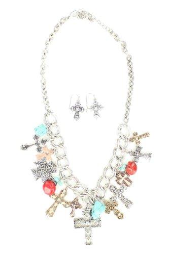 Blazin Roxx Women's Cross And Stone Charms Necklace Earrings Set Multi One Size